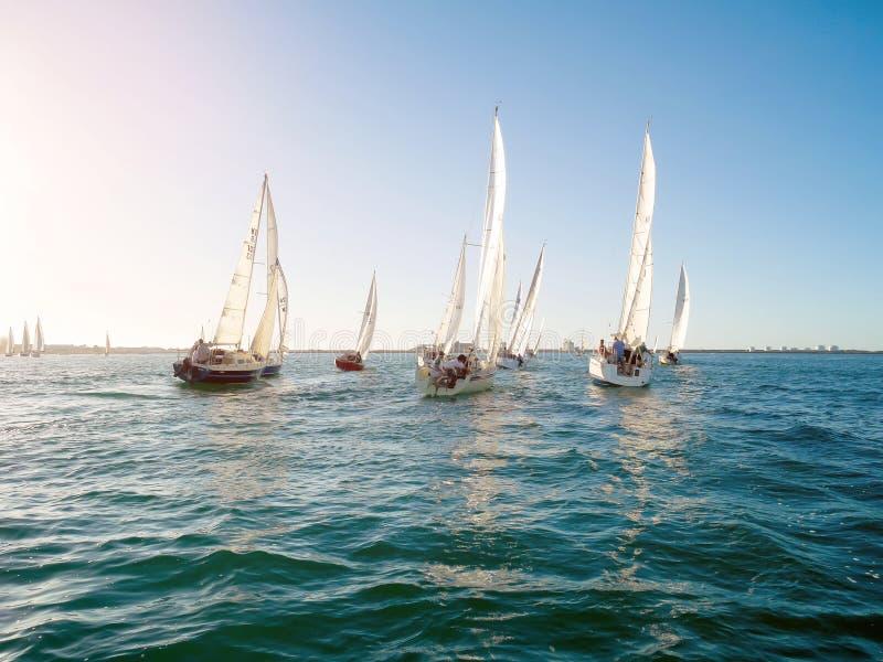 Yacht competes in a regatta for Koombana Bay Sailing Club members in Bunbury. Bunbury, Western Australia - February 10: Yacht competes in a regatta for Koombana royalty free stock photo