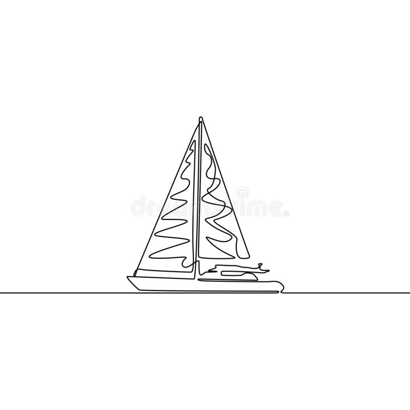 Yacht continuous line drawing. Single line vector ship illustration. Boat stock illustration