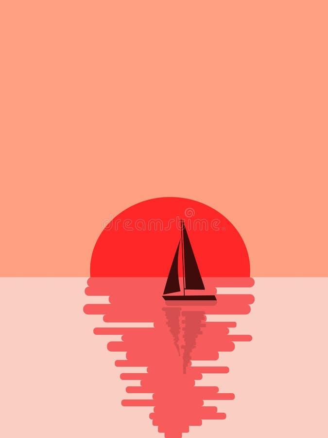 Yacht contre le soleil illustration de vecteur