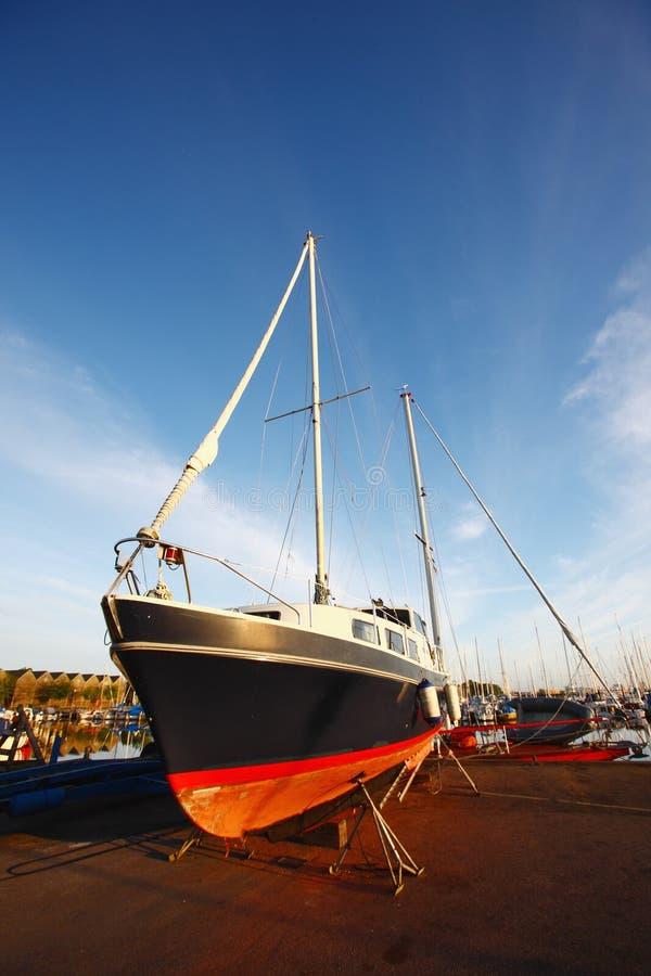 Yacht in the copenhagen wharf stock photo