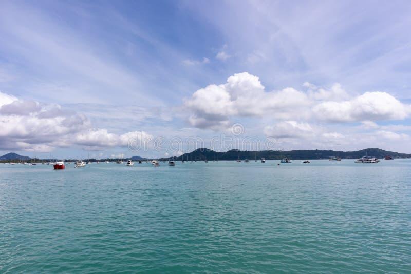 Yacht cruise pier on sunny day at Phuket, Thailand. Yacht cruise club pier on sunny day at Phuket, Thailand royalty free stock image