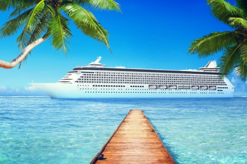 Yacht Cruise Ship Sea Ocean Tropical Scenic Concept.  royalty free stock photography