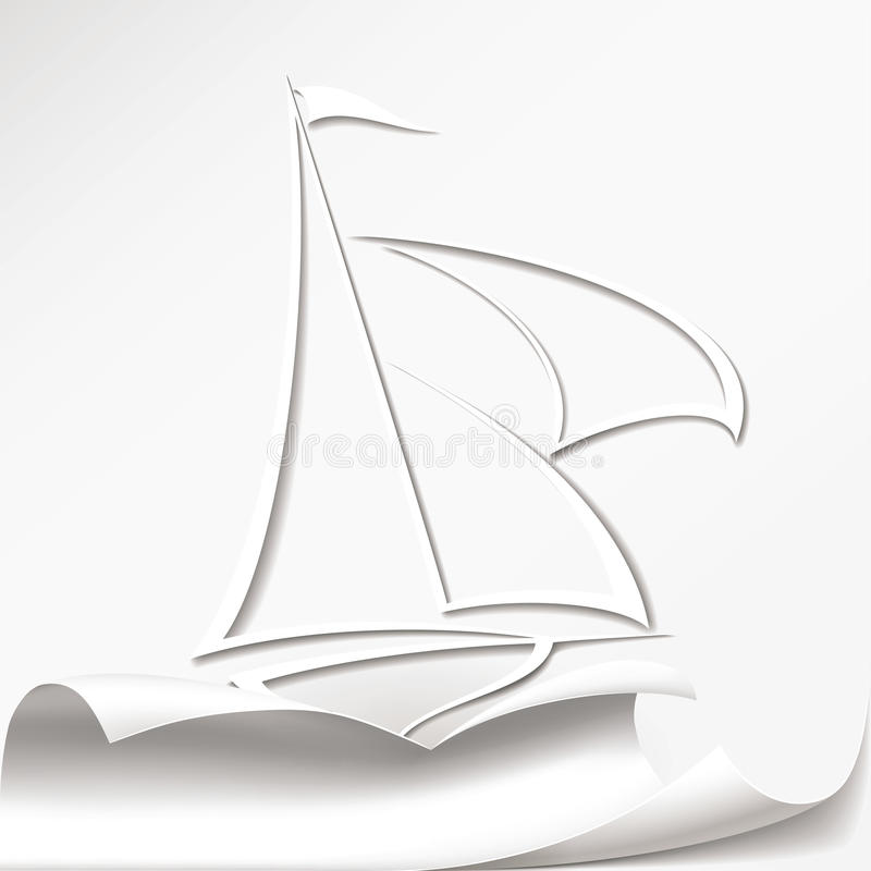 Yacht cuts the paper. Format stock illustration