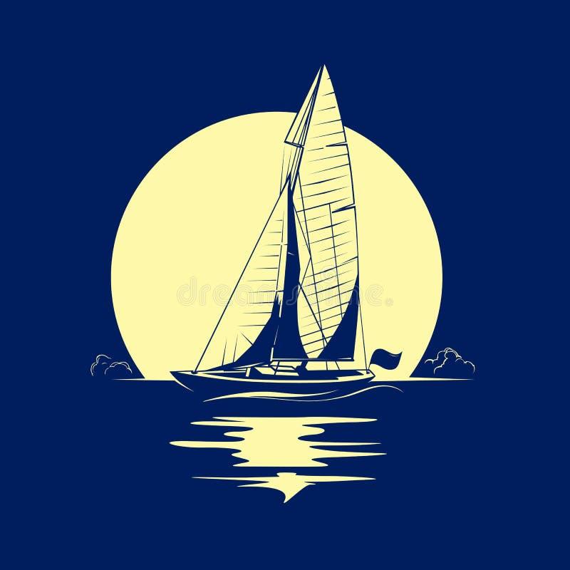 Yacht d'océan avec la pleine lune illustration libre de droits