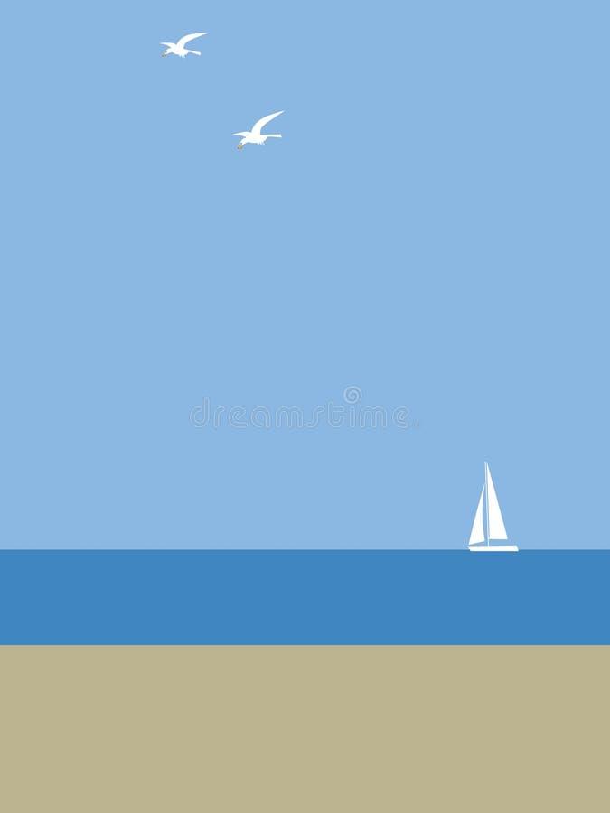 Yacht dal mare royalty illustrazione gratis