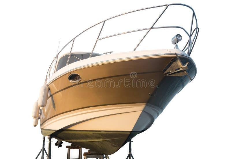 Yacht dans le dock pour des réparations photo stock