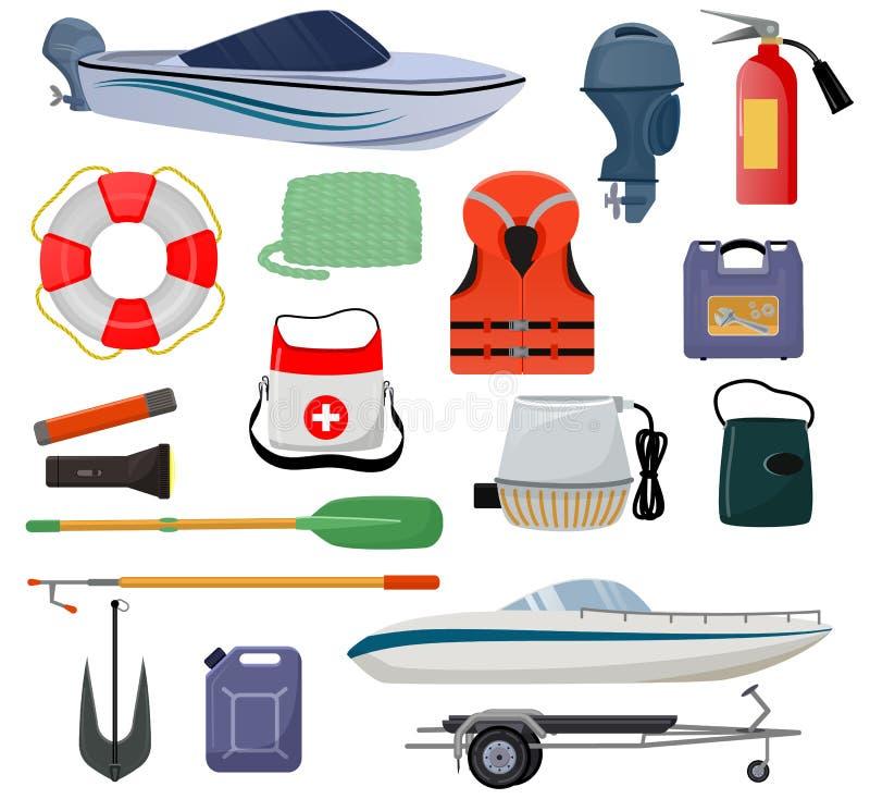 Yacht de canot automobile de vecteur d'équipement de bateau avec l'ensemble marin d'illustration d'ancre de bouée de sauvetage de illustration libre de droits