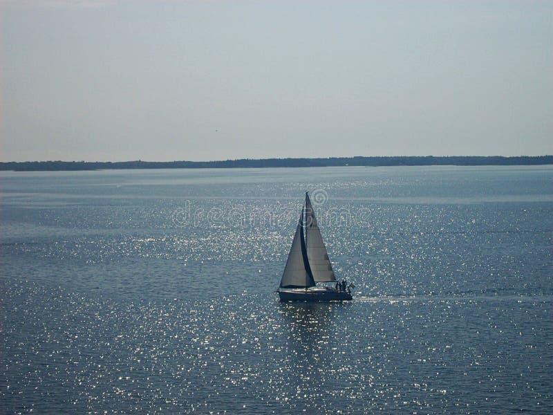 Yacht de luxe de bateau de navigation avec les voiles blanches dans le fjord suédois photos stock