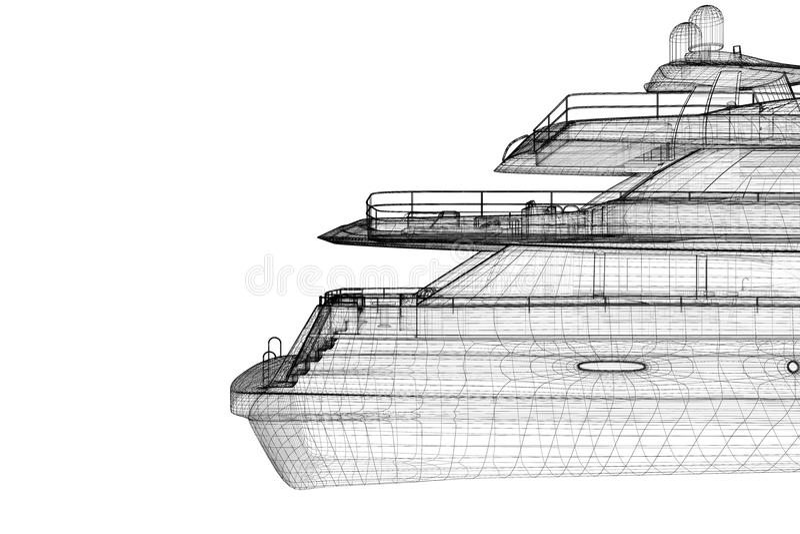 Yacht de luxe de moteur illustration stock