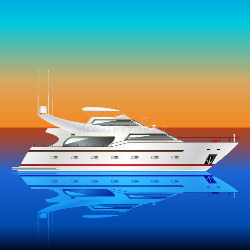 Yacht de moteur en mer illustration stock