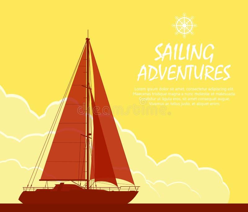 Yacht de navigation au coucher du soleil illustration libre de droits