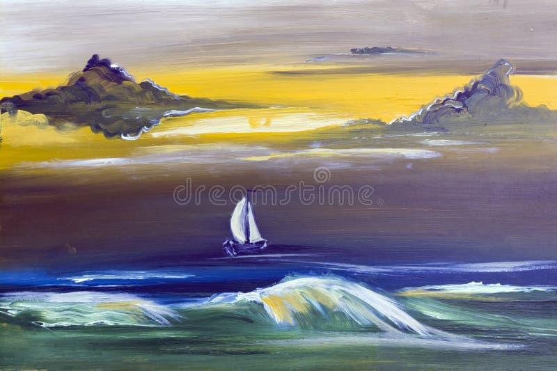 Yacht de navigation dans la tempête illustration de vecteur