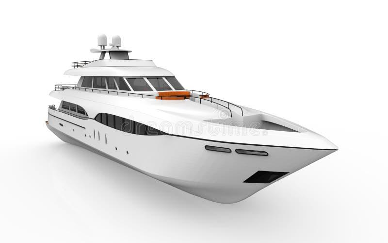 Yacht de plaisir blanc d'isolement sur le fond blanc illustration de vecteur