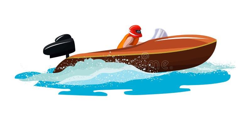 Yacht del motoscafo di velocità di vettore della barca che viaggia nell'insieme nautico dell'illustrazione dell'oceano delle vaca illustrazione vettoriale