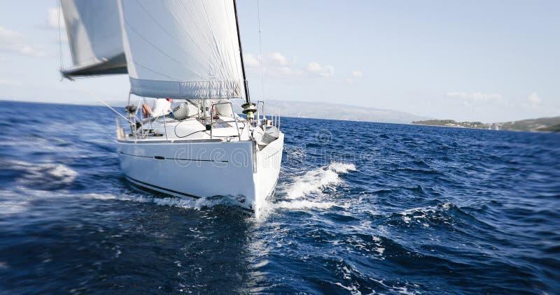 Yacht di lusso a regata di navigazione Navigando nel vento attraverso il mare fotografia stock libera da diritti