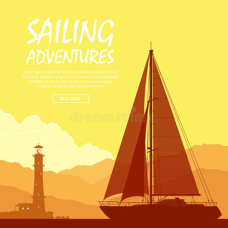 Yacht di navigazione al tramonto royalty illustrazione gratis