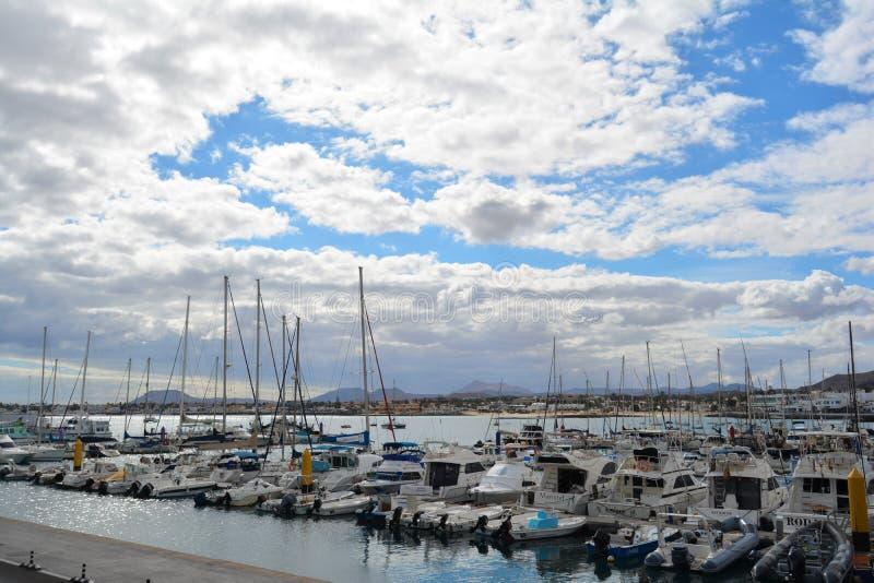 Yacht dock of Corralejo, Fuerteventura, Spain stock image