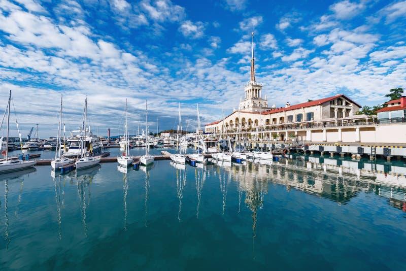 Yacht e barche in Soci fotografia stock libera da diritti