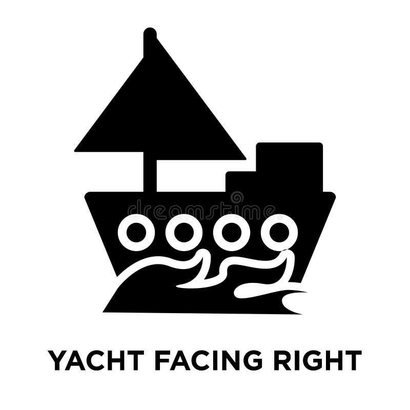 Yacht enfrentando o vetor direito do ícone isolado no fundo branco, log ilustração royalty free
