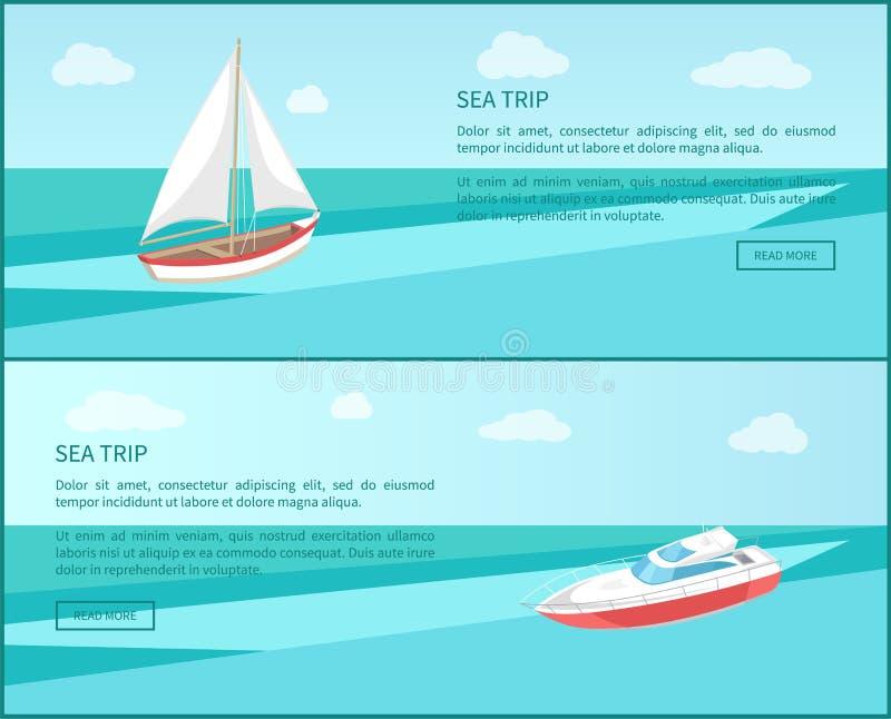Yacht för affisch för havsturrengöringsduk modern, fartyg med kanfas vektor illustrationer