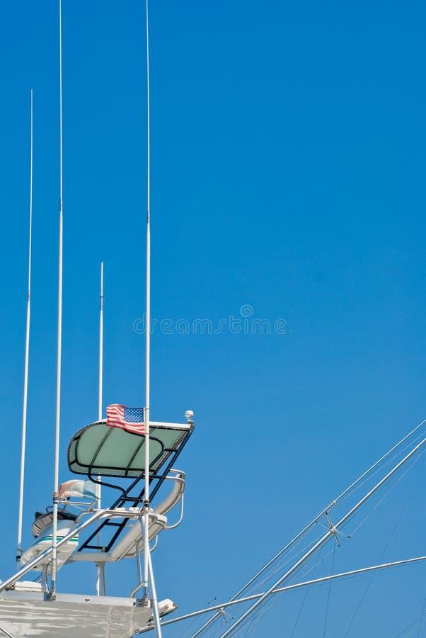 yacht för atennascockpitfiske arkivbild