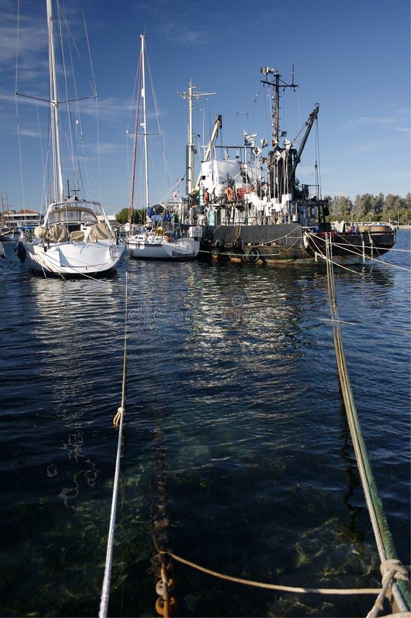 yacht för paphosportship arkivbild