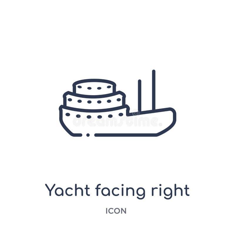 Yacht faisant face à la bonne icône de la collection nautique d'ensemble Ligne mince yacht faisant face à la bonne icône d'is illustration stock