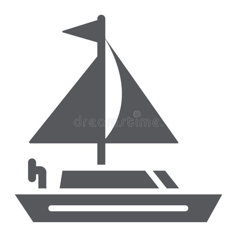 Yacht Glyphikone, Transport und Boot, Segelbootzeichen, Vektorgrafik, ein festes Muster auf einem weißen Hintergrund vektor abbildung