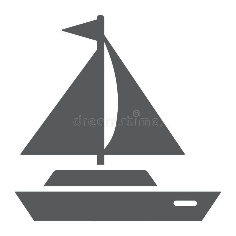 Yacht Glyphikone, transportieren Sie und versenden Sie, Bootszeichen, Vektorgrafik, ein festes Muster auf einem weißen Hintergrun vektor abbildung