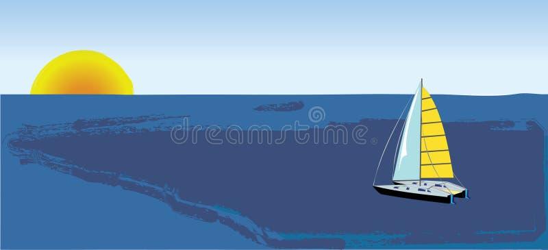 Yacht goes to sunset sky stock illustration