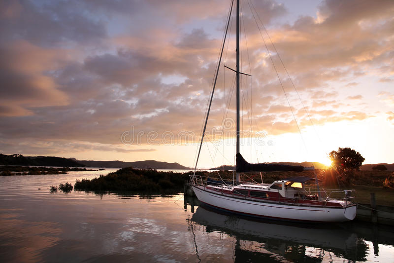 Yacht In The Harbor Of Coromandel Royalty Free Stock Image