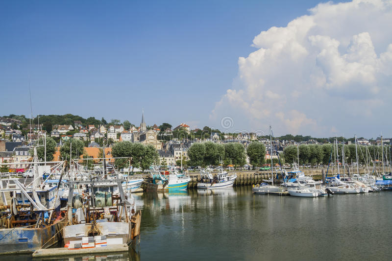 The yacht harbor Deauville. Deauville the yacht harbor and views of Trouville royalty free stock images