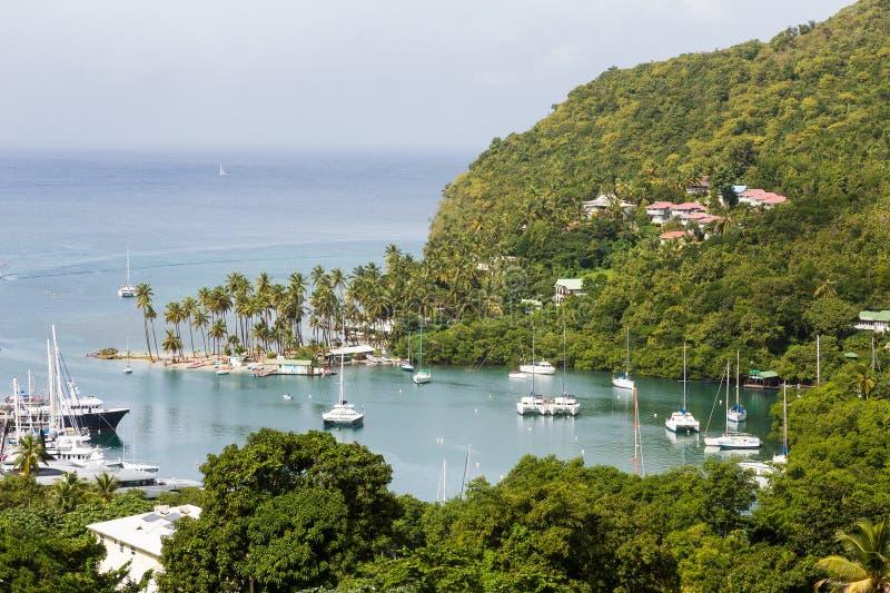 Yacht Harbor on St Lucia stock photo