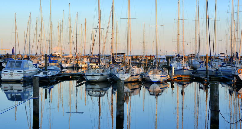 Yacht harbour evening royalty free stock photography
