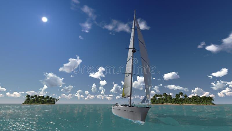 Yacht, hav och tropiska öar royaltyfri illustrationer