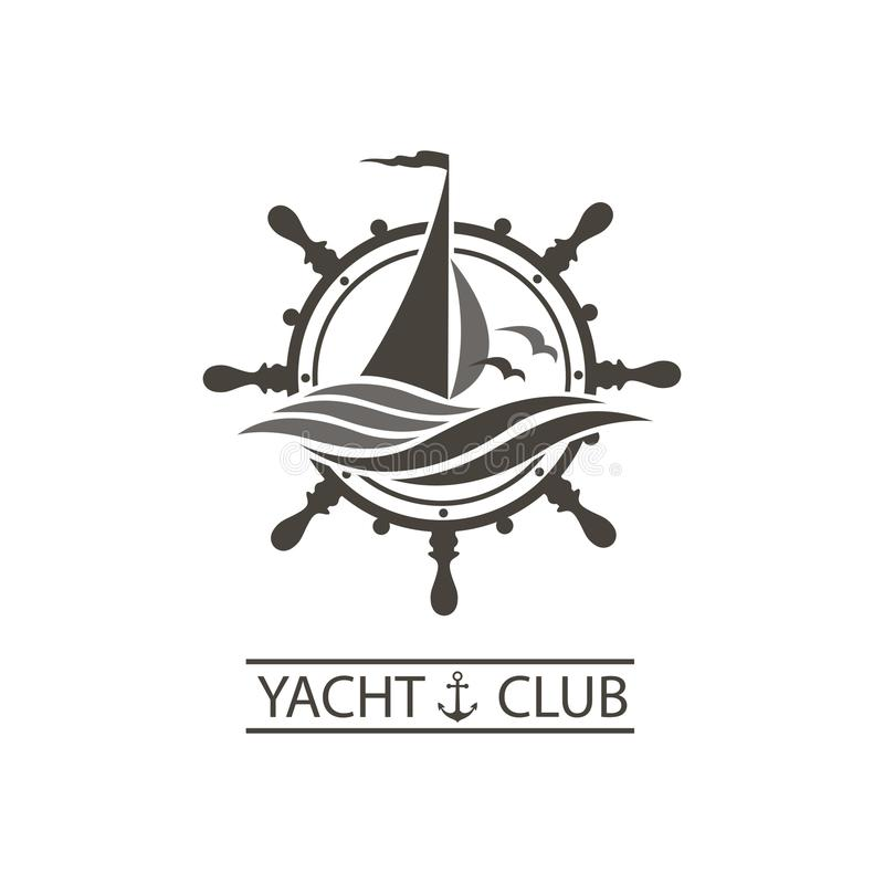 Yacht helm and waves icon. Icon of sailing yacht, helm and ocean waves with seagulls vector illustration