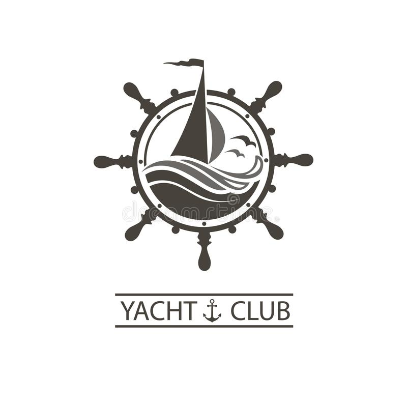 Yacht helm and waves icon. Icon of sailing yacht, helm and ocean waves with seagulls stock illustration
