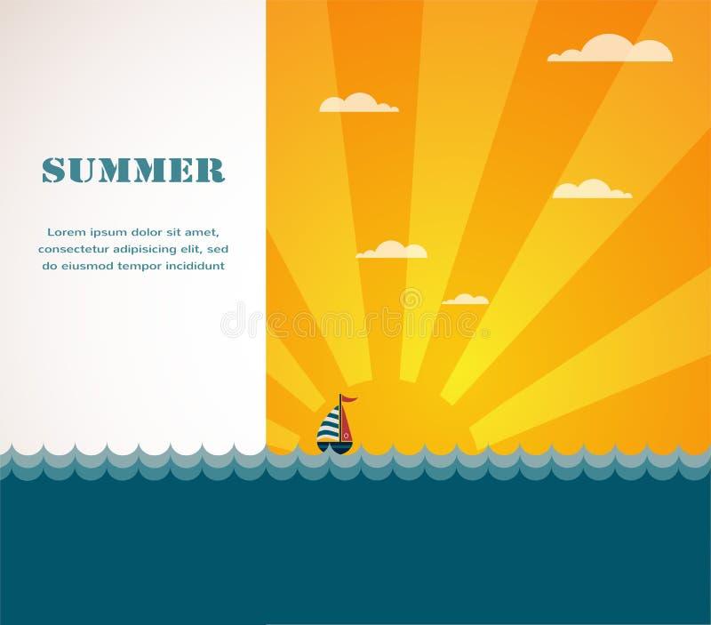 Yacht i havet på solnedgången stock illustrationer