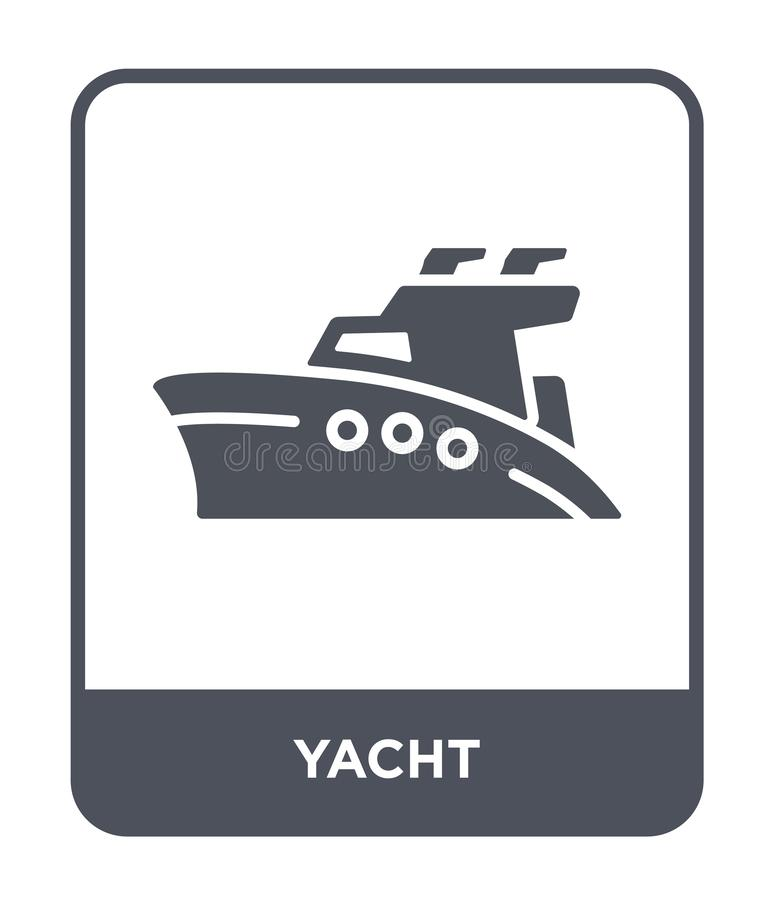 Yacht icon in trendy design style. yacht icon isolated on white background. yacht vector icon simple and modern flat symbol for. Web site, mobile, logo, app, UI vector illustration