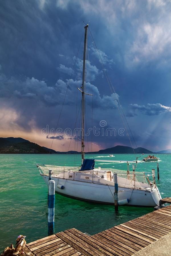 Yacht on Iseo Lake stock photo