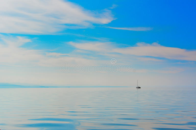 Yacht in the lake. stock image