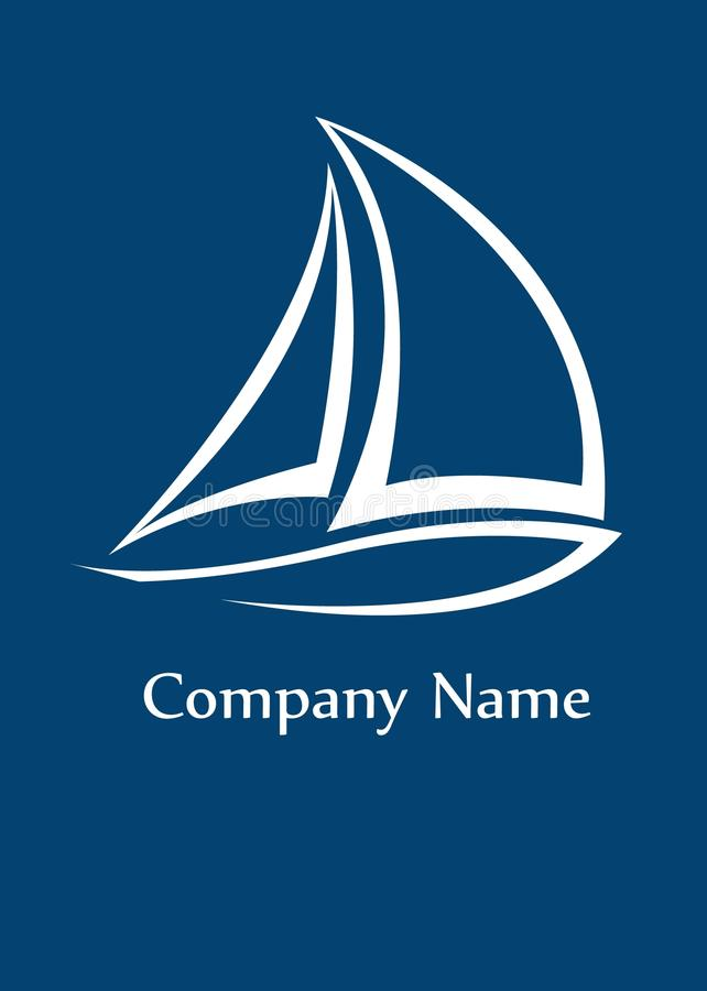 Yacht logo. Stylised yacht logo white on blue background with space for company name