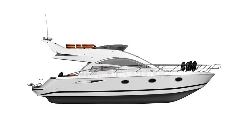 Yacht, luxury boat, vessel isolated on white background, side view, 3D render vector illustration