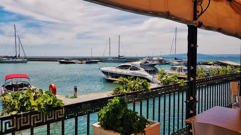 Yacht marina bay Balchik imagens de stock royalty free