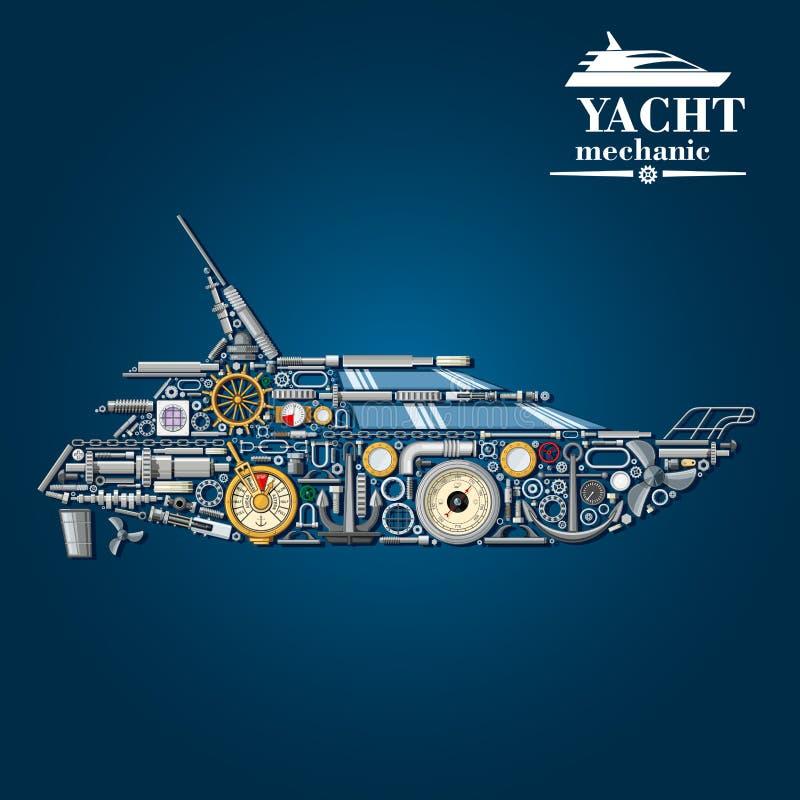 Yacht mechanics icon of motor boat from parts stock illustration