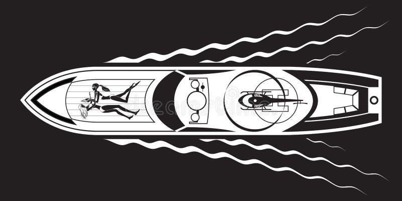 Yacht med den modemodeller och helikoptern royaltyfri illustrationer