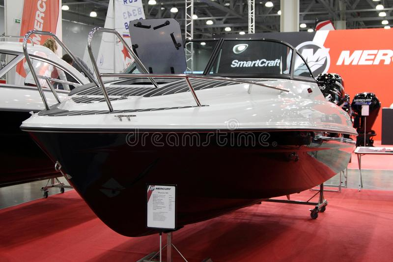 Yacht Mercury Phoenix 560 for 10 International boat show in Moscow. Russia. royalty free stock images