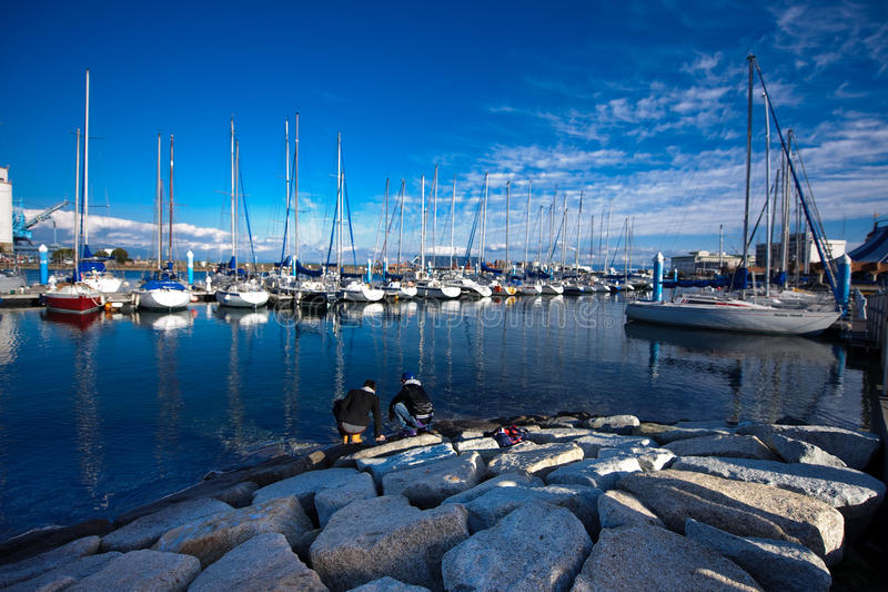 Yacht messi in bacino 02 immagini stock libere da diritti