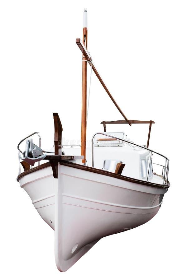 Yacht moderne d'isolement sur le fond blanc images libres de droits
