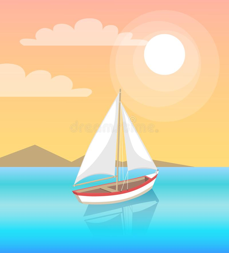 Yacht moderne Marine Nautical Personal Boat Icon illustration de vecteur